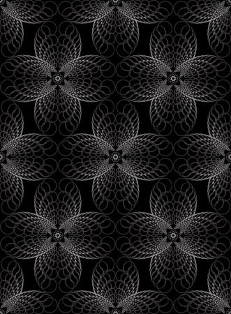 Abstract geometric halftone seamless pattern concentric circles on a black background Vetores