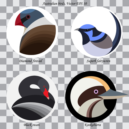 Set of colored abstract australian birds for logo, on white and black circles, isolated Illustration