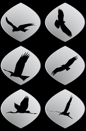 Set of white paper stickers. Silhouettes of flying birds, isolated, on black background