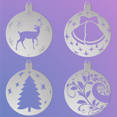 Christmas balls set with a deer, Christmas tree, curls and bells, cut out of paper.  Isolated
