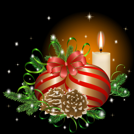 Golden composition of Christmas balls, pine needles, serpentine, cones and a burning candle. Vector illustration for Christmas and New year