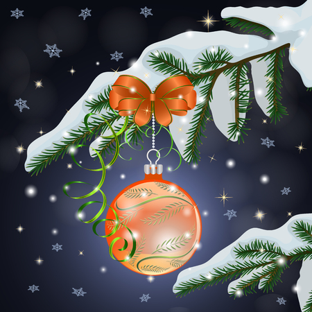 Christmas composition with orange ball and bow on a snow-covered fir branch on a dark blue background. Vector illustration