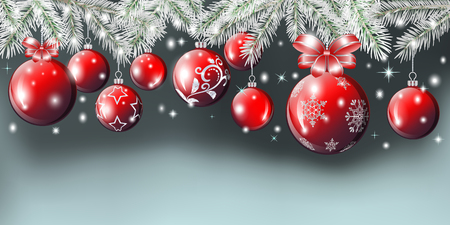 Composition for the new year and Christmas from fir branches, red balls and stars. Vector illustration