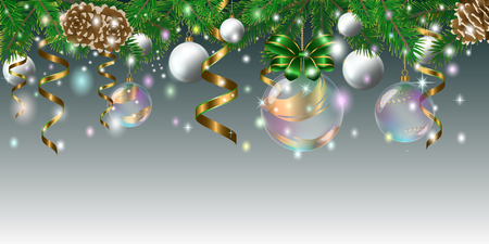 Composition for the New Year and Christmas from fir branches, transparent balls, serpentine, cones and stars.  Vector illustration
