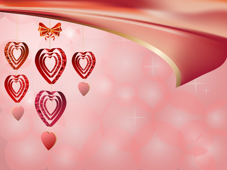Bright background of hearts  for Valentines day on pink background. Vector illustration Ilustracja