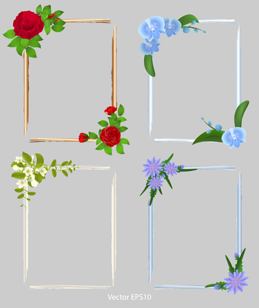 Set of frames for photos. decorated with flowers,  vector illustration Vettoriali