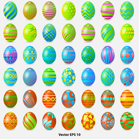 collection of Easter eggs with geometric patterns, vector illustrations Vetores