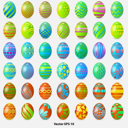 collezione di uova di Pasqua con motivi geometrici, illustrazioni vettoriali Vettoriali