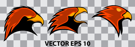 set of eagles heads for logos, on transparent background, vector illustration