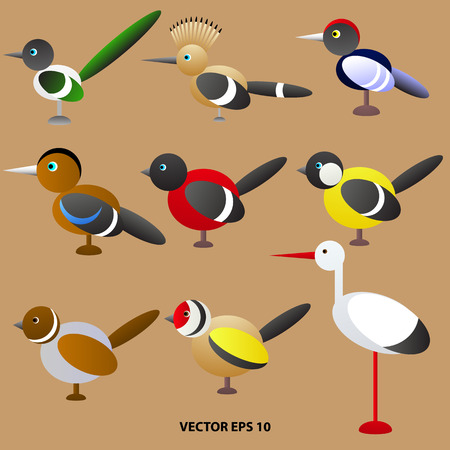 set of brightly colored toy birds from geometric shapes. Vector illustration