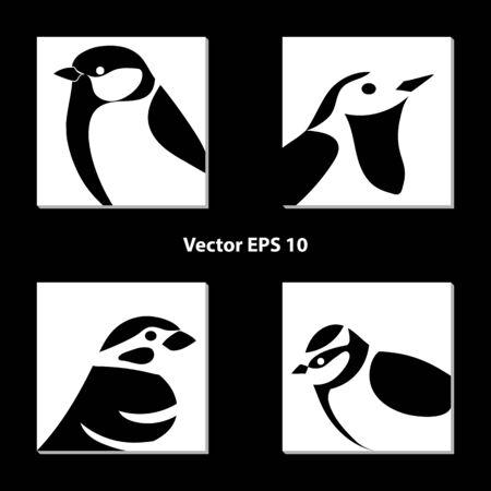 conjunto de siluetas de aves en blanco y negro en cuadrados blancos.