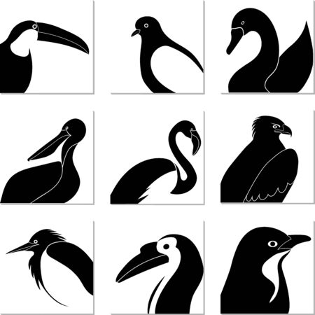 set of black and white bird silhouettes in white squares. Иллюстрация
