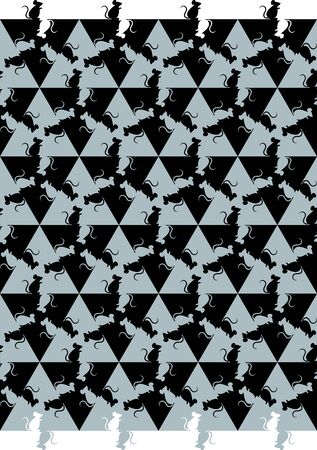 Seamless pattern with mice, mosaic in Escher style.