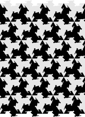 Seamless black and gray background with cats, mosaic in the style of Escher.