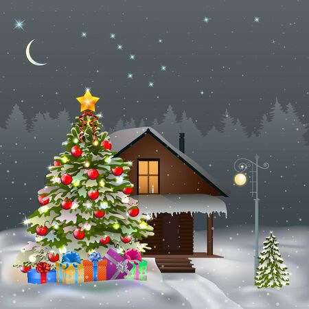 Composition with a Christmas tree and a house against the night sky with stars. Vector illustration EPS 10