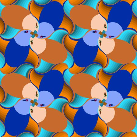 Bright birds seamless pattern, Escher style, tessellation. Vector illustration eps 10.