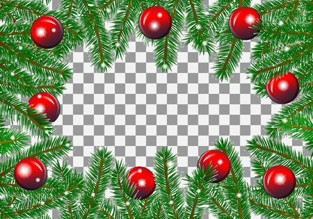 Christmas background made of fir branches with red balls for greeting card. On a transparent background. Vector illustration Ilustração Vetorial