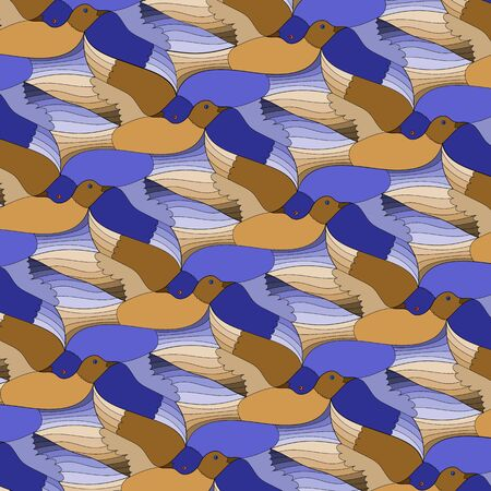 background of blue and orange abstract birds, tessellation. Vector illustration