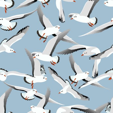realistic gulls seamless pattern on blue background. Vector illustration