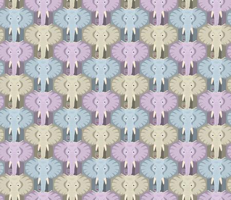 seamless elephant head pattern in pastel colors, tessellation, hexagon. Vector illustration EPS 10