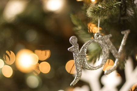 joy ornament on christmas tree photo