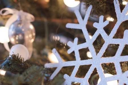 white sparkling snowflake ornament decoration on christmas tree