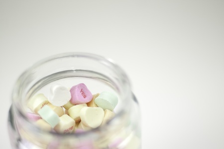 glass jar of valentine hearts  Stock Photo