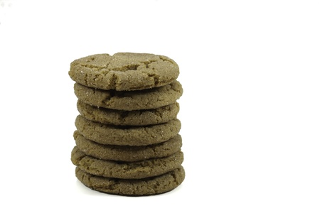 stack of ginger snap cookies isolated on a white background
