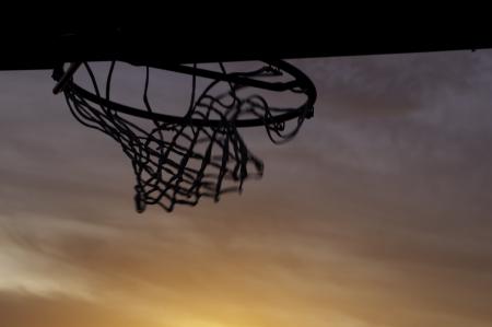 a basketball hoop and net after a shot