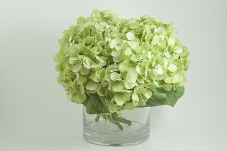 fake green hyndrangea bunch with green leaves
