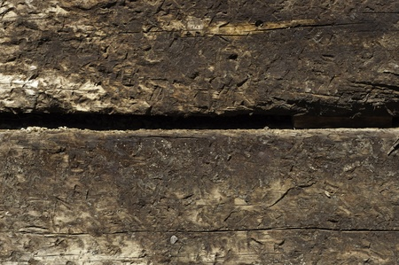 two railroad ties stacked texture or background Stock Photo