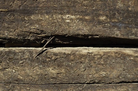 two railroad ties stacked texture or background with splintering photo