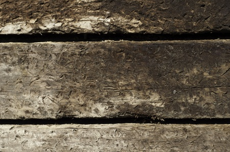 three stacked railroad ties for texture or background