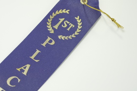 simple first place blue ribbon on white background