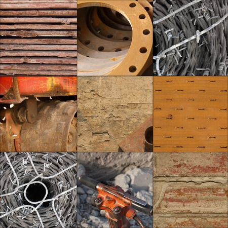 collage of construction materials used for building