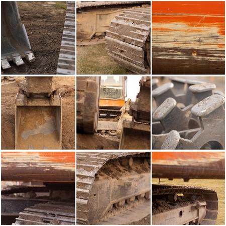 collage van grote bouwmachines