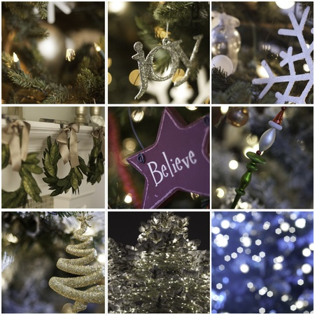 nine pictures in collage of christmas time and decorations