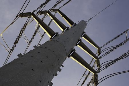 power pole view at angle from below with high voltage lines running overhead Stockfoto