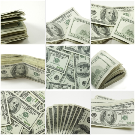 collage of hundred dollar bills in various stacks and folds on white background