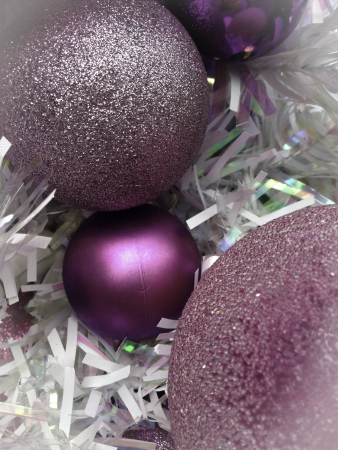 trimmings: pink sparkling ornaments white trimmings christmas time Stock Photo