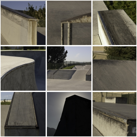 collage of a skate park with rails concrete bowls and ramps photo