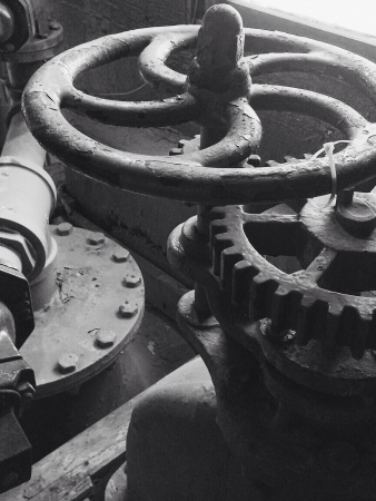 Wheel and gears in mechanical room