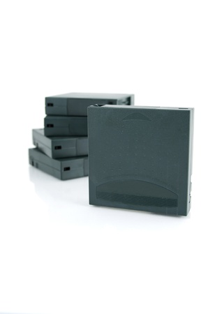 Picture of a stack with tapes   magnetic cartridges for backup and safety storage of data