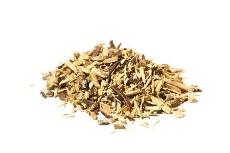 Licorice liquorice Glycyrrhiza glabra root also used for tea isolated on white background