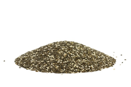 empires: Side view of a pile with chia seeds  Isolated on white  The people of the ancient Aztec and Incan empires revered chia seeds as viral nourishment