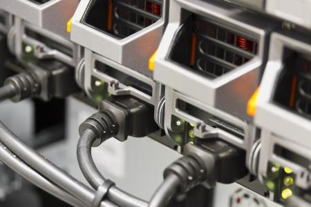 server side: Power Supplies on blade server in rack  Shot in data center  Stock Photo