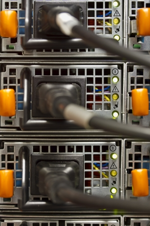 Power Supplies on one unit rack servers in a data center  photo