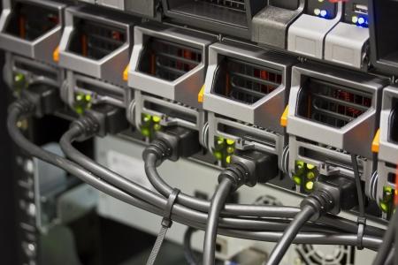 Power Supplies on blade server in rack  Shot in data center  photo