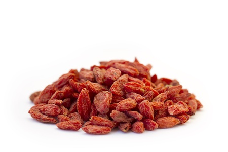 A macro photo of Goji Berries   Wolfberry on white background