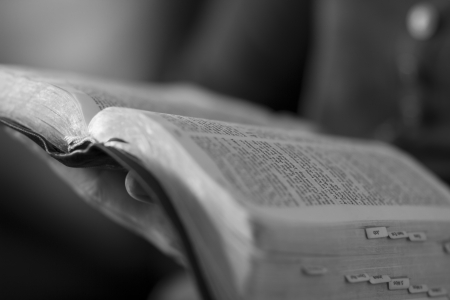 bible: A close-up of a christian woman reading the bible  Stock Photo